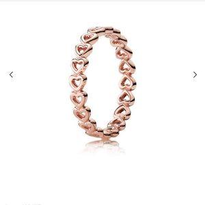 Rose gold heart pandora ring